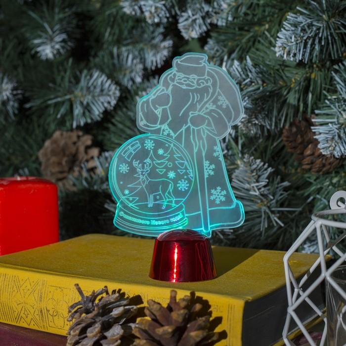 """Подставка световая """"Дед Мороз, Олень в шаре"""", 14.5х9 см, 1 LED, RGB микс"""