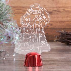 """Подставка световая """"Дед Мороз, Олень в шаре"""", 14.5х9 см, 1 LED, RGB микс - фото 1584157"""
