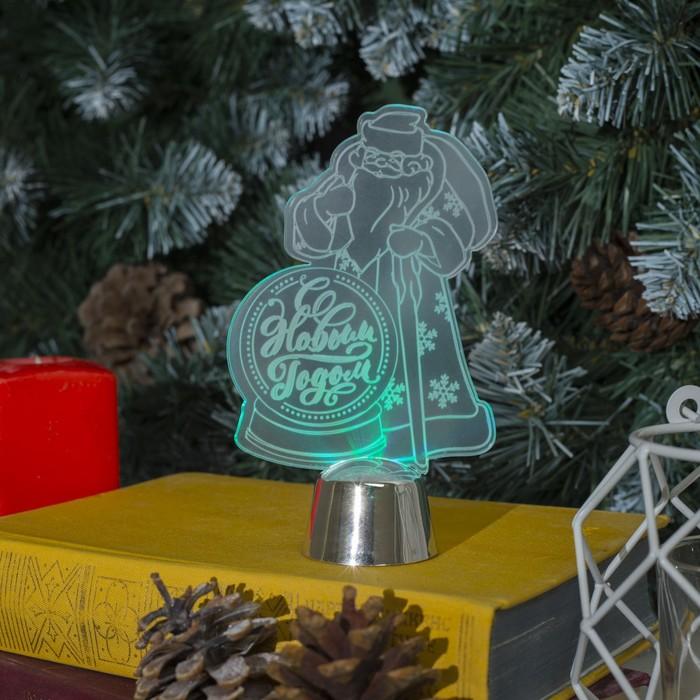 "Подставка световая ""Дед Мороз, С Новым годом"", 14.5х9 см, 1 LED, RGB микс"