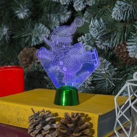 """Подставка световая """"Снеговик на коньках"""", 14.5х10.5 см, 1 LED, RGB микс - фото 1584168"""