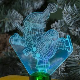 """Подставка световая """"Снеговик на коньках"""", 14.5х10.5 см, 1 LED, RGB микс - фото 1584170"""
