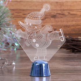 """Подставка световая """"Снеговик на коньках"""", 14.5х10.5 см, 1 LED, RGB микс - фото 1584172"""