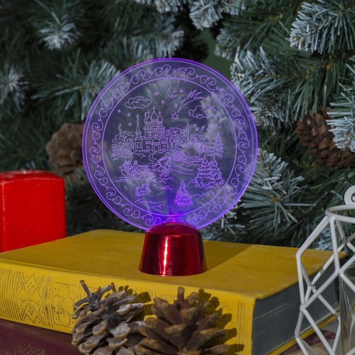 """Подставка световая """"Зимний пейзаж"""", 13.5х11 см, 1 LED, RGB микс"""