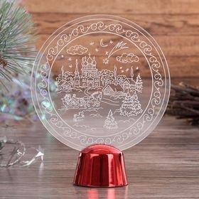 """Подставка световая """"Зимний пейзаж"""", 13.5х11 см, 1 LED, RGB микс - фото 1584190"""