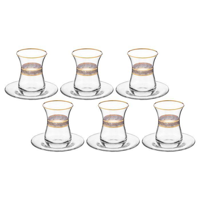 Сервиз чайный на 6 персон Basic, 12 предметов: 6 чайных стаканов 160 мл, 6 блюдец