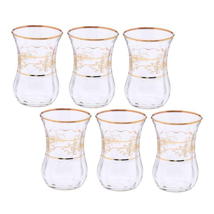 Набор стаканов для чая «Кружева. Бронза», 115 мл, 6 шт