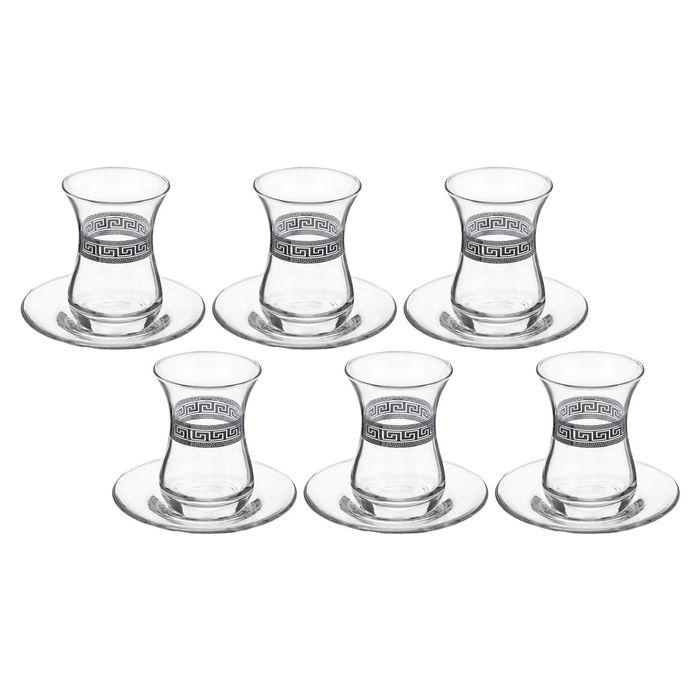 """Сервиз чайный на 6 персон """"Basic. Черное"""", 12 предметов: 6 чайных стаканов 160 мл, 6 блюдец"""