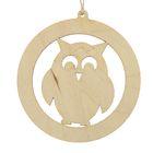 "New year's suspension, ""Owl"", beige, 7 cm + string"