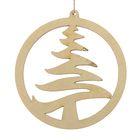 "New year's suspension ""Tree-ball"", beige, 7 cm + string"