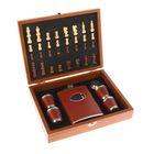 Набор 7в1 (фляжка 8oz+4 рюмки+воронка+шахматы), деревянная коробка, 18*24см