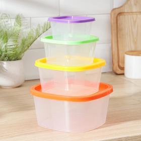 Набор квадратных контейнеров BioFresh, 4 шт: 0,23 л, 0,5 л, 0,9 л, 1,55 л, цвет МИКС