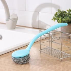 Губка для посуды металлическая с ручкой, цвет МИКС