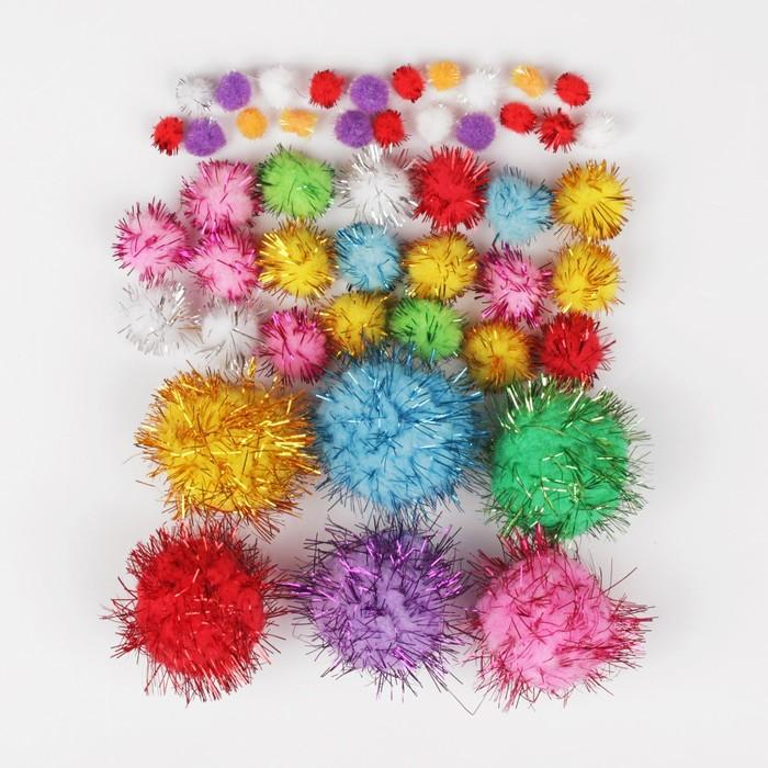 """Набор текстильных деталей для декора """"Бомбошки"""" 6 шт. по 3 см, 20 шт. по 1,5 см, 20 шт. по 1 см"""