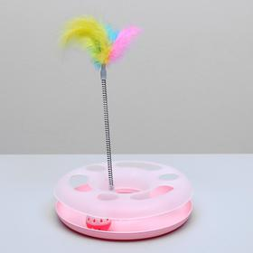 Play set for cats with a ball and feathers in the spring, 25 x 25 x 20 cm, mix colors