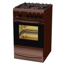 Плита газовая Terra SH 14.120-03 Br, 4 конфорки, 55 л, газовая духовка, коричневая