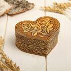 Box Roses, heart, 10х7х4,5 cm, birch