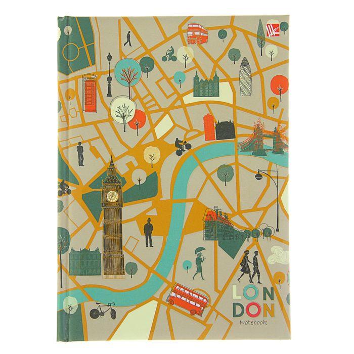 """Бизнес-блокнот А5, 80 листов """"Графика. Карта Лондона"""", блок 70 г/м2, матовая ламинация, твердая обложка с поролоном"""