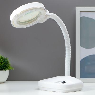Cветильник с увеличительным стеклом для творчества, от сети 220В белый 52х17х14 см