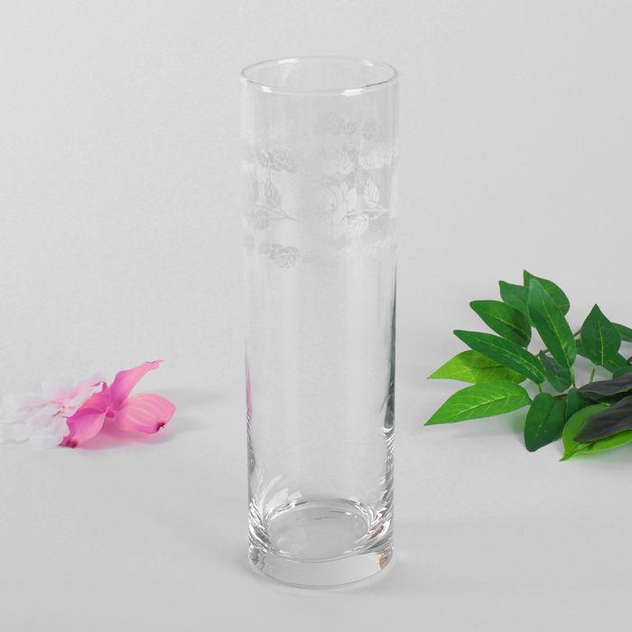 "Ваза для цветов ""Букет белых роз"" цилиндр, 26,5 см"