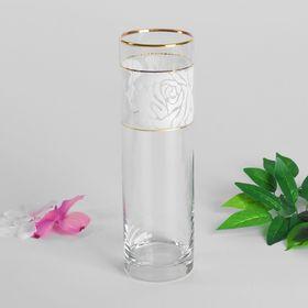 "Ваза для цветов ""Белые розы"" цилиндр, 26,5 см"