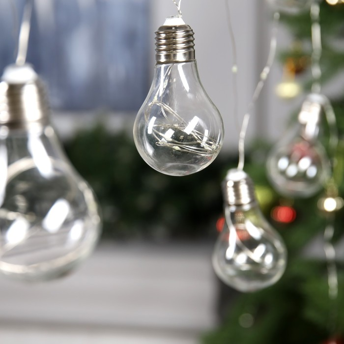 """Гирлянда """"Нить"""" """"Лампочки"""" 3 м, 10 пластиковых лампочек, LED-100-12V, свечение белое"""