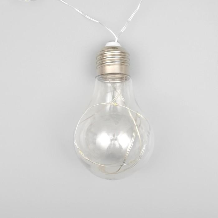 Нить «Лампочки», 3 м, 10 пластиковых лампочек, 100 LED, 12 В, белая