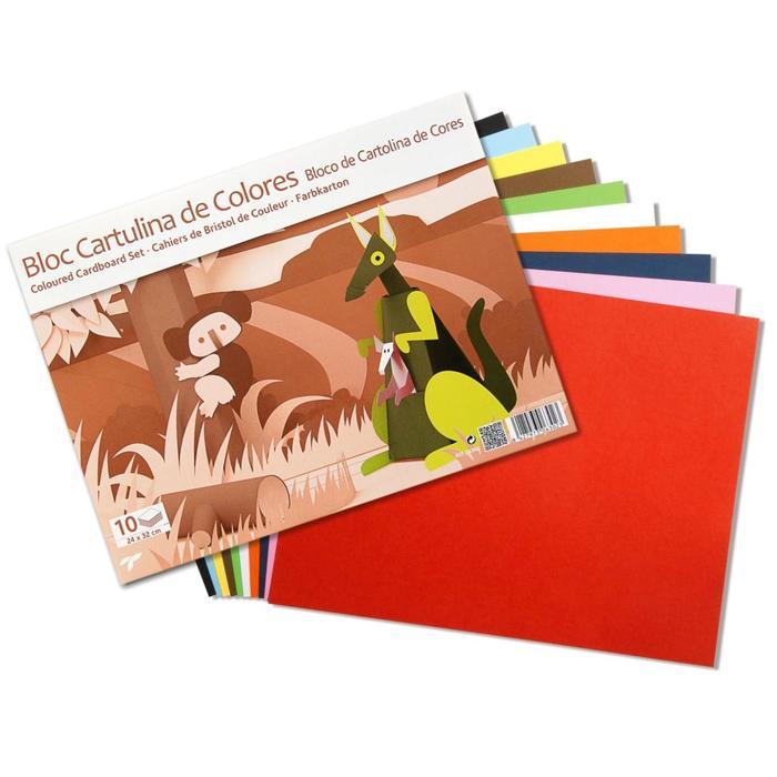 Картон цветной набор 312*240 мм Sadipal 10 листов*10 цветов блок 6302