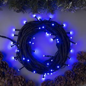 """Гирлянда """"Нить"""" 10 м , IP44, УМС, тёмная нить, 72 SMD-LED, свечение синее, 220 В в Донецке"""
