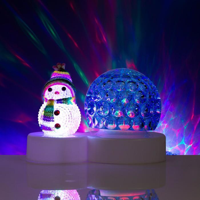 """Световой прибор """"Снеговичок с ледяным синим шаром"""", диаметр 9,5 см, Мульти"""