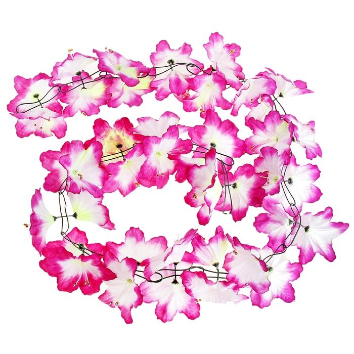 """Гавайская гирлянда """"Лилия"""", цвет сиренево-белый"""