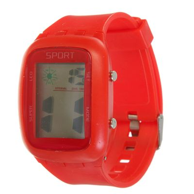 Wrist electronic watch, silicone strap, the dial is a rectangle mix