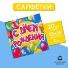 Cалфетки «С днём рождения», шарики, 25х25 см, набор 20 шт. - фото 105517032