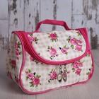 Косметичка-сумочка «Розы», отдел на молнии, с зеркалом, цвет бежевый