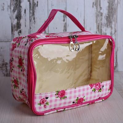 Косметичка-сундук «Розы», отдел на молнии, с зеркалом, цвет розовый