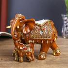 """Сувенир полистоун """"Слон со слонёнком коричневый в ажурной попоне"""" 13х15х7,5 см"""