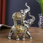 "Сувенир полистоун ""Два слоника в золотых попонах с рубином"" 18х12х5 см"