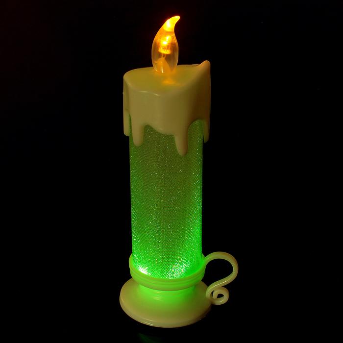 """Свеча светодиодная """"Подсвечник"""", переливается разными цветами, цвет белый"""