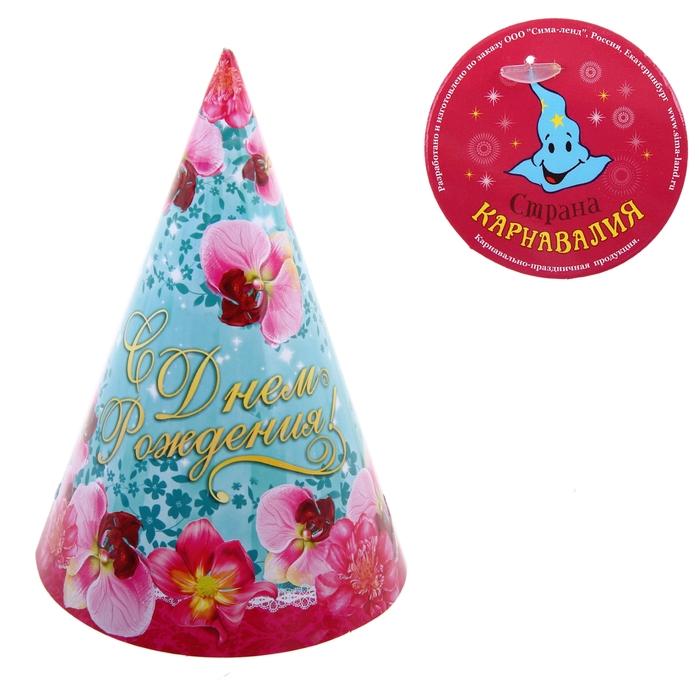 """Бумажные колпаки """"С Днём рождения! Цветы"""", набор 6 шт., 16 см"""