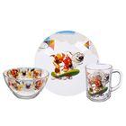 "Набор посуды ""Озорная семейка на скейте"", 3 предмета: тарелка 19 см, кружка 210 мл, салатник 13 см 250 мл"