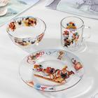 """Набор посуды """"Озорная семейка в цирке"""", 3 предмета: тарелка 19 см, кружка 210 мл, салатник 13 см 250 мл"""