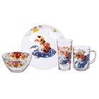 "Набор посуды ""Озорная семейка на ракете"", 4 предмета: тарелка 19 см, кружка 210 мл, салатник 13 см 250 мл, стакан 230 мл"