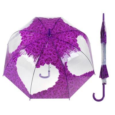 """Зонт-трость """"Розы"""", механический, R=42, цвет фиолетовый"""