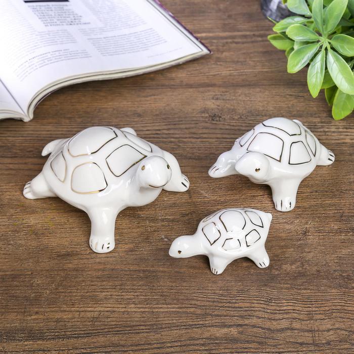 """Сувенир """"Семья черепах"""" набор 3 шт. 7,5х16х11,5 6,5х13х8,5 3,5х8,5х5,5 см"""