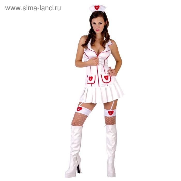 """Карнавальный костюм для взрослых """"Медсестра"""", 3 предмета: платье, ободок, подвязка на ногу, размер M-L (44-48)"""