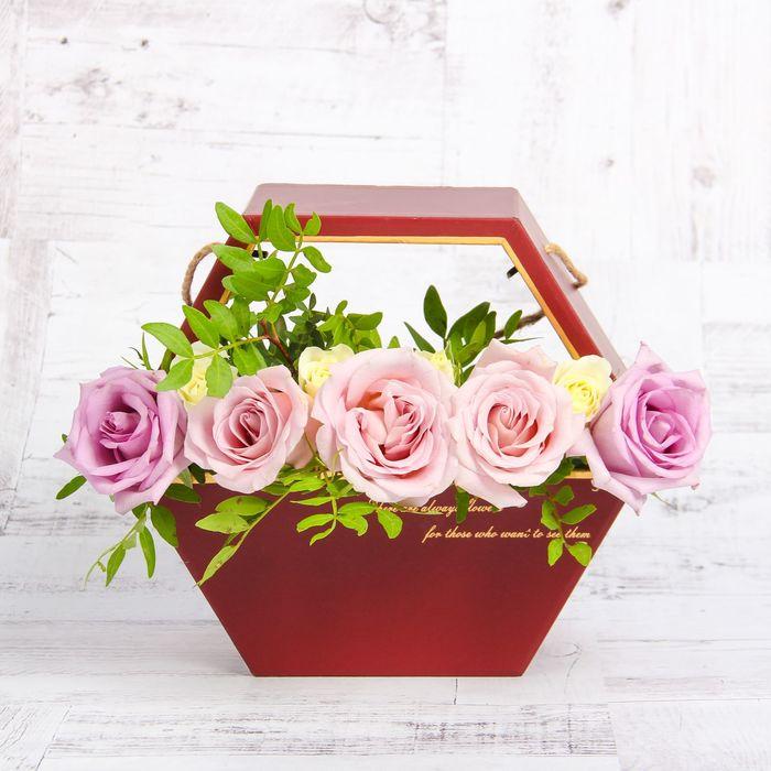 Переноска для цветов, бордовый, 22 х 22 х 10 см