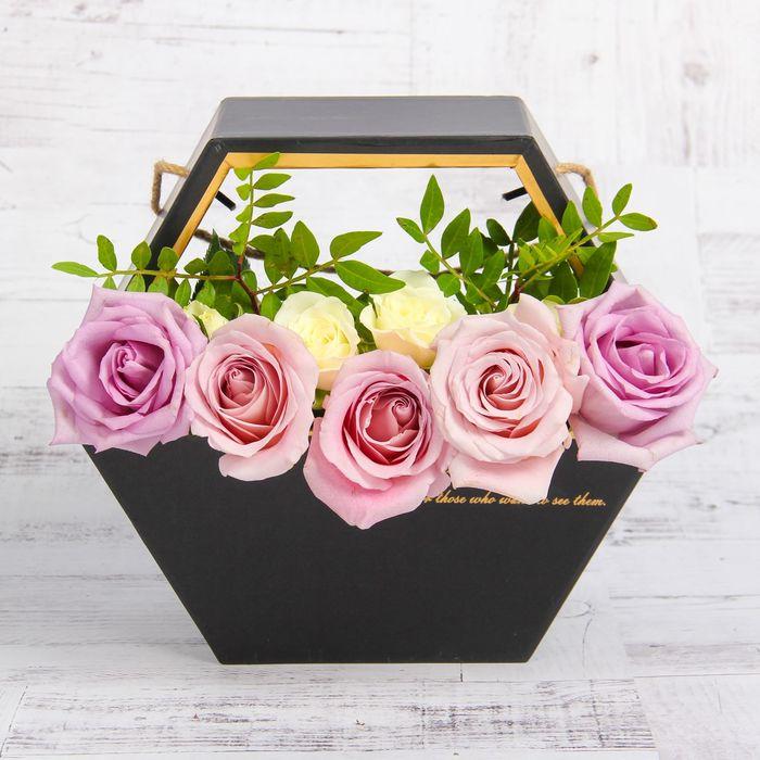 Переноска для цветов, цвет чёрный, 22 х 22 х 10 см