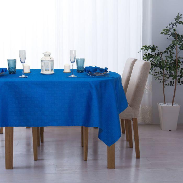 """Набор столовый """"Этель"""" Печворк цв.Синий(скат140*140,салф 40*40-4шт), 100% хл, жаккард"""