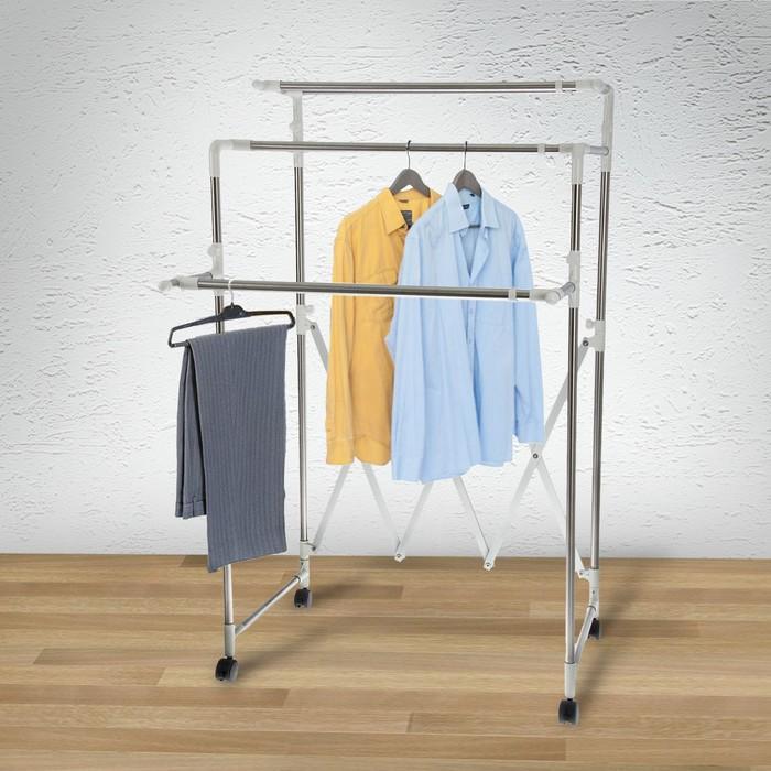 Стойка для одежды телескопическая, 2 перекладины, 1 полка 152x53x145 см