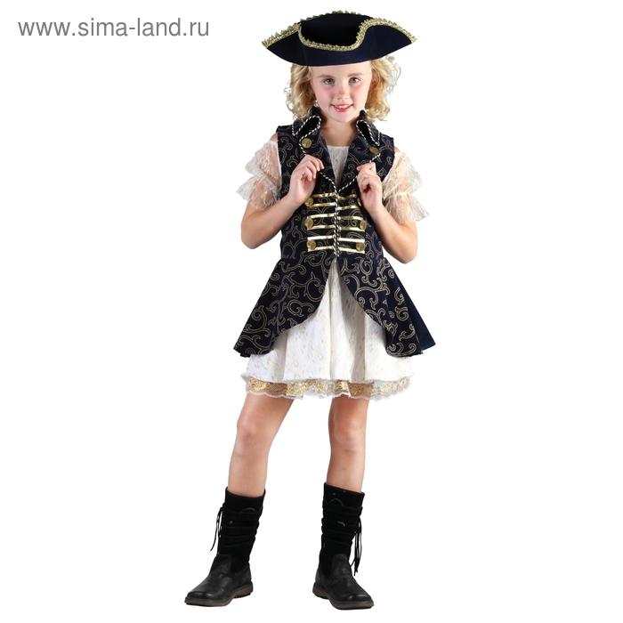 """Карнавальный костюм """"Маленькая Леди"""", 3 пр: платье, головной убор, жилет, размер M 120-130 см"""
