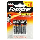 Батарейка алкалиновая Energizer Max, AAA, LR03-8BL, блистер, 8шт.